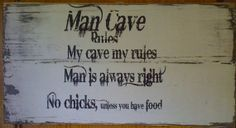 Wooden ManCave sign by LesliesTreasuresMo on Etsy, $35.00