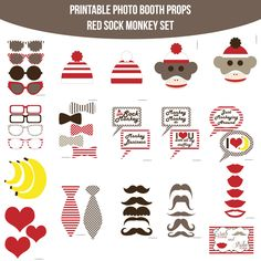 Instant Download Sock Monkey Red Printable Photo Booth Prop Set — Amanda Keyt DIY Photo Booth Props & More!