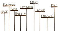 metal herb markers | Set of metal herb stakes from Spoon Sisters . $22.50 for nine.