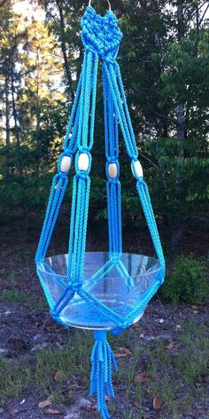 OCEAN BLUE Macrame Plant Hanger Hanging Basket Holder by HobbySue