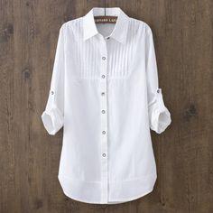 100% cotton 2018 Spring Summer Women White blouse long-sleeved slim co – geekbuyig