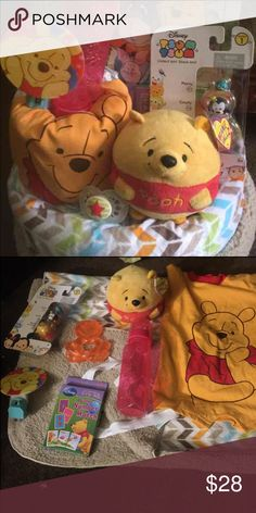 Unisex Winnie the Pooh diaper cake Plush blanket Pooh ball Pooh outfit  Bottle Nuk pacifier  Disney tsum tsum  Nightlight pooh  Teether Diapers Disney Other