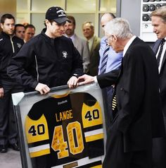 Earlier today, Mike Lange was honored by players and staff for his 40 years as the voice of the Pens and was presented with a custom jersey by team captain Sidney Crosby