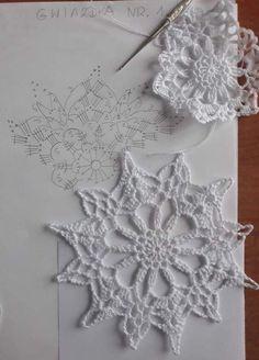 New crochet christmas snowflakes pattern cross stitch ideas Mandala Au Crochet, Crochet Snowflake Pattern, Crochet Stars, Crochet Circles, Crochet Motifs, Crochet Snowflakes, Crochet Diagram, Doily Patterns, Thread Crochet
