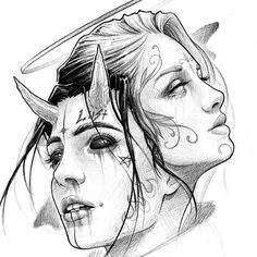 Yin und Yang 🌕🌑 bei Inspirationde Tattoos And Body Art tattoo flash art Dark Art Drawings, Art Drawings Sketches, Tattoo Sketches, Tattoo Drawings, Cool Drawings, Demon Drawings, Realistic Drawings, Tattoo Design Drawings, Drawings Of Angels