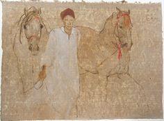 Isabelle Delpiano - Painter artist Moktar Oil on china paper