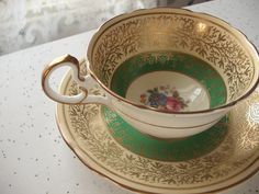 antique tea cup and saucer set 1930's Aynsley by ShoponSherman,