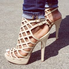 Natural Cut Out Detail Open Toe Single Sole Platform Pump High Heels Nubuck Caged Heels, Pumps Heels, Stiletto Heels, Cute Sandals, Ankle Strap Sandals, Prom Heels, Platform High Heels, Shoe Closet, Me Too Shoes
