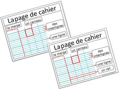 affiche autour du vocabulaire autour de la page de cahier Teaching French, French Handwriting, Visual Dictionary, French Classroom, Classroom Setting, Interactive Notebooks, Community Boards, Back To School, Notebooks