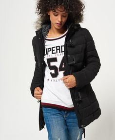 Superdry Microfibre Tall Toggle Puffle Jacket Black