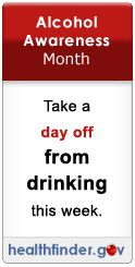 Alcohol Awareness Month - take a Day off from drinking this week https://www.mycenterforrecovery.com/news-april-2015.php