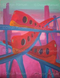 """trenes"", acrylic on canvas, 28 x 22 cm., year 2007 Price of original painting us$200"