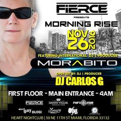 FIERCE PRESENTS MORNING RISE AFTERHOURS: FIERCE PRESENTS MORNING RISE AFTERHOURS FIERCE PRESENTS MORNING RISE AFTERHOURS WITH International Producer/@Dj Morabito & DJ Carlos G at Heart Night Club FIRST FLOOR MAIN ENTRANCE IMMEDATELY FOLLOWING White Dreams with Alain Jackinsky & Isaac Escalante AT CLUB SPACE. Looking for La Puta Nota? Our favorite keywords In Google, Yahoo, Bin…