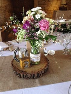 Rustic/country style table decoration/centre piece.