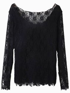 Shop Long Sleeve Floral Lace Blouse in Black from choies.com .Free shipping Worldwide...$13.98