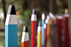 Pencil Fence: Wouldn't this pencil fence be so cute around our kids play area in the back yard!!!
