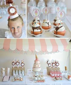 Ice Cream Parlour Party: striped fabric canopy made with PVC pipe