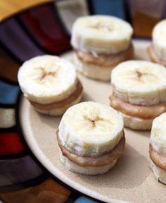 frozen nutty banana nibblers | 3-Ingredient Healthier Alternative to Ice Cream Sandwiches - via PopSugar