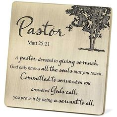 Dicksons, Pastor Appreciation Antique Brass Table Plaque, Metal, 3 x 3 inches Pastor Appreciation Quotes, Appreciation Cards, Pastor Quotes, Gifts For Pastors, Pastors Wife, Pastor Anniversary, Matthew 25, Church Crafts, Christian Gifts