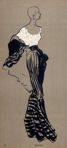 Fashion Illustrator René Gruau, 1948, Jacques Fath couture. iL