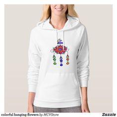 colorful hanging flowers - women hoodie