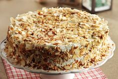 Tourta-amygdalou Almond Dessert Cake recipe in english Dessert Cake Recipes, Sweets Cake, Party Desserts, Candy Recipes, Greek Sweets, Greek Desserts, Greek Recipes, Greek Cake, Greek Pastries