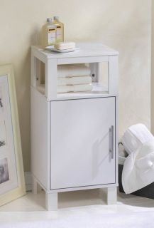 """by Accent Plus Contemporary design and a sleek white finish make this functional cabinet a fashionable room accent. The angular framework features an inset shelf for open display and a storage compartment with two shelves set behind a door accented by a chic, modern handle.  This cabinet is dapper in the living room, in the bathroom, or in your bedroom. 13.5"""" x 11.6"""" x 27.5"""""""