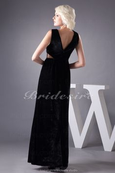 The Green Guide - A-line V-neck Floor-length Sleeveless Stretch Satin Dress [BD4950] - US$92.99 : The Green Guide
