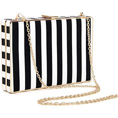 Designer Clothes, Shoes & Bags for Women Black And White Purses, Black White Fashion, Black White Stripes, White Clutch, White Handbag, Structured Handbags, Leather Purses, Leather Handbags, Vegan Purses