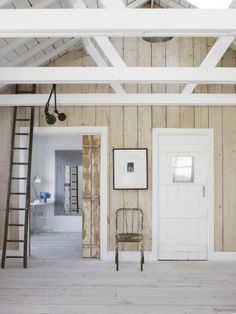 Rustic White Country Cottage Interior Design Inspiration from a beautiful coastal home in East Sussex by The Beach Studios. Design by Atlanta Bartlett & Dave Coote. Cottage Design, House Design, Cottage Decorating, White Cabin, Rustic White, Rustic Modern, White Wood, Knotty Pine Walls, Hallway Wall Decor