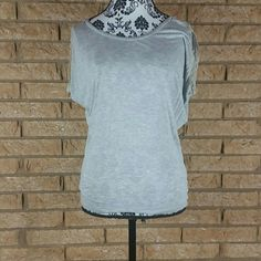 BLACK FRIDAY DROPGray Lacy T-shirt Ann Taylor Loft Gray Lacy T-shirt Ann Taylor Loft Lace on the arms LOFT Tops Tees - Short Sleeve