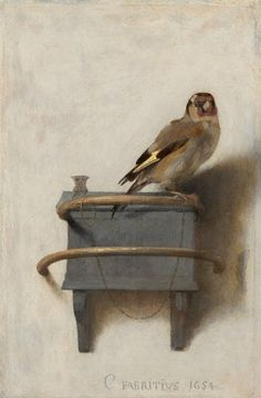 Carel Fabritius The Goldfinch, an extraordinary little painting. Lines and Colors: http://linesandcolors.com/2016/11/07/eye-candy-for-today-carel-fabritius-the-goldfinch/