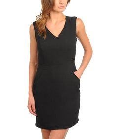 Another great find on #zulily! Black Lace-Back Pocket V-Neck Dress #zulilyfinds
