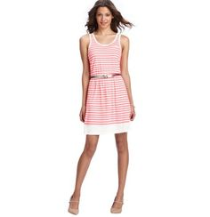 Striped Cutout Strap Tank Dress