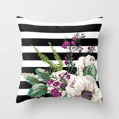 Striped Floral Throw Pillow – BySamantha