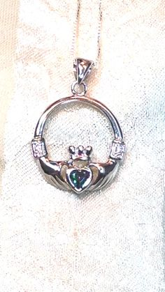 Green Mystic Topaz Claddagh Necklace Handmade by NorthCoastCottage Jewelry Design & Vintage Treasures on Etsy.com, $119.00