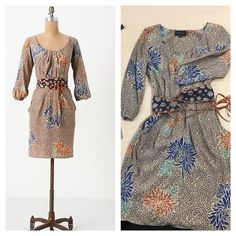 NWOT Flower print dress 100% silk long sleeve dress with reversible belt. 2 front pockets. Excellent used condition. Dry clean only. 40 inches shoulder to hem. Anthropologie Dresses Long Sleeve