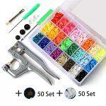 460 PCS Boutons Pression Plastique avec Kit de Pince pour T3 T5 T8 en 24 Couleurs pour DIY Artisanat: Lot d'outils complet: 460séries T5…