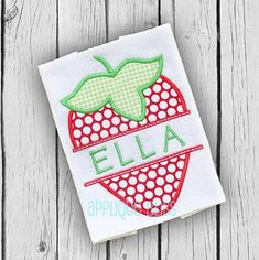 Split Strawberry applique design just in time for Spring and Summer is available in sizes 4x4, 5x7 Small, 5x7, 6x6, 6x10, & 8x8. (Some sizes come