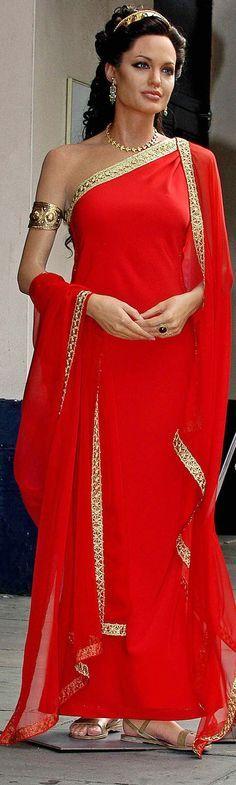Angelina Jolie in Alexander, red grecian dress