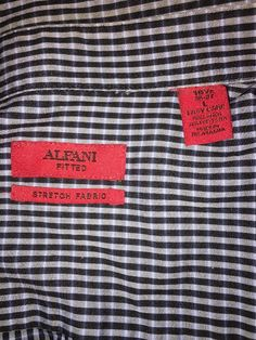 17aa1f41eb88af Alfani Fitted Stretch Shirt Long Sleeve Checkered 36-37 16.5 Men Size Large  B13