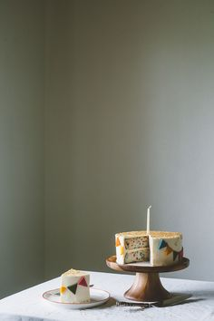Funfetti cake with bunting decoration
