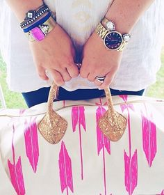 Bag would be a pretty easy DIY- just paint on patterns and add glitter to handles