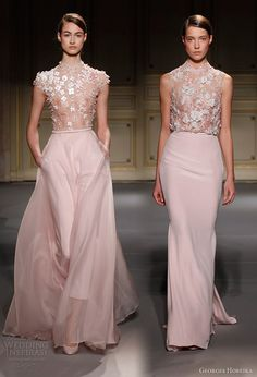 georges hobeika spring summer 2013 couture pale pink wedding dress