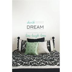 An inspiring wall quote with peel and stick decals, perfect for a beautiful dorm room decor idea. Cherish Dream Live Wall Quote - Wall Phrase Decal Kits WallPops