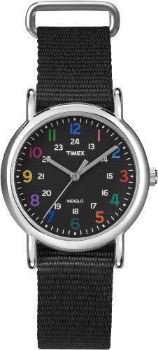 Amazon.com: Timex Women's T2N869KW Weekender Mid Size Black Watch: Watches