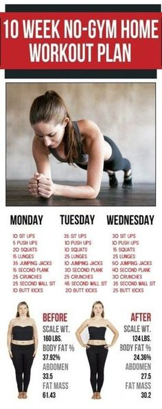 10 Week No-Gym Home Workout Plan – 365 Aims - Fitness Fitness Workouts, Fitness Motivation, Workout Exercises At Home, Gym Workout Routines, Drop 10 Workout, 1 Hour Workout, Workout Hair, Workouts For Teens, Easy Workouts