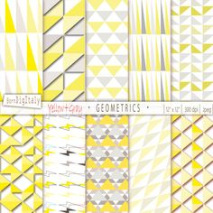 Geometric Digital Paper Argyle Digital Paper Diamond Triangles Paper Digital Background Digital Pattern Yellow Paper_Personal+Commercial Use