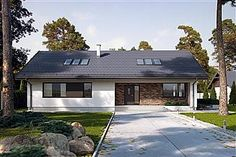 Projekt domu Endo 113,29 m2 - koszt budowy - EXTRADOM Small House Design, Construction, Home Fashion, Garage Doors, Exterior, House Styles, Outdoor Decor, Home Decor, Attic