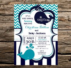 PRINTABLE Whale Baby Shower Invitation Navy Blue Gray and